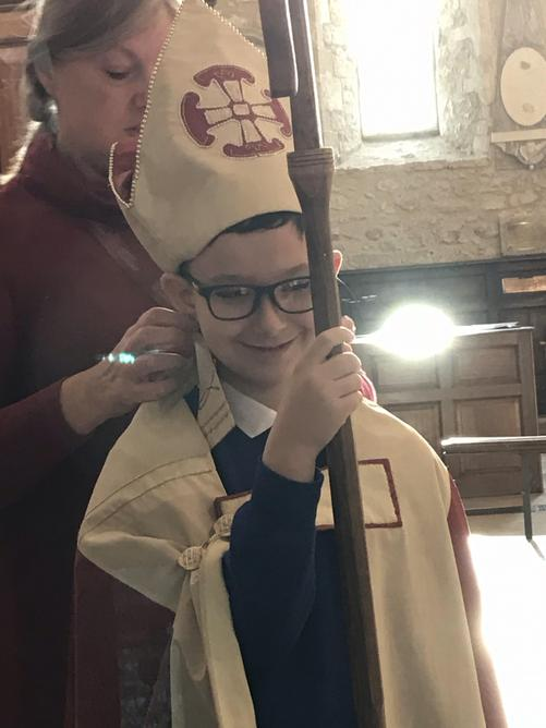 Callum dressed up as a Bishop!