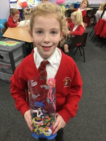 Lucy created hers using lots of crafts from home