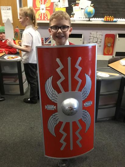 Ben created his shield from metal!