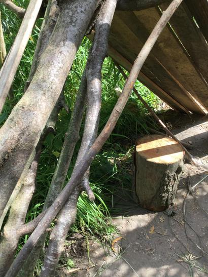 After the den fell down we created a new one using a stronger shape.