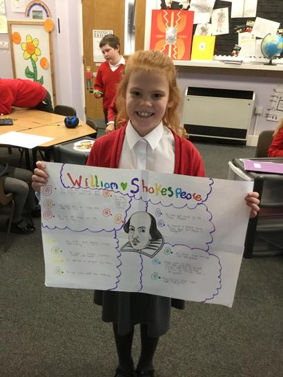 Holly produced a colourful poster on Shakespeare