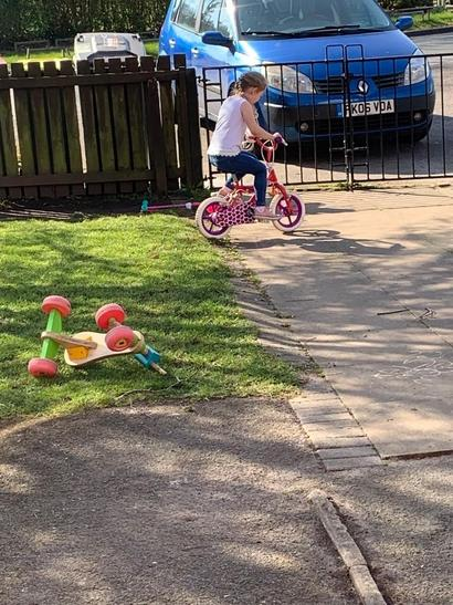 Learning to ride my bike without stabilisers! Mya