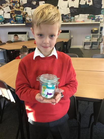 Alfie had used a smaller jar for his ocean scene