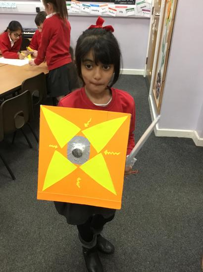 Emaan made a shield and sword