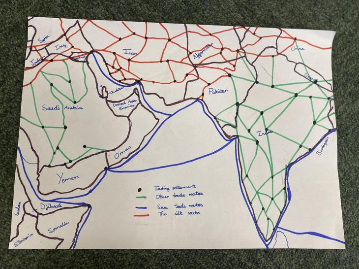 Someone drew a trade route map