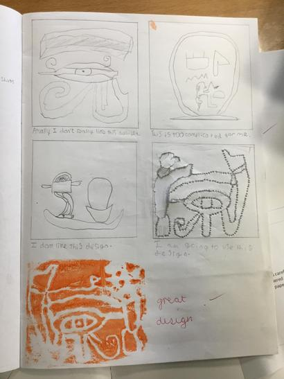Drawing various designs for stamp