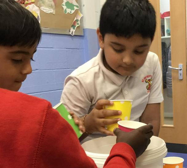 Trying cups with different holes