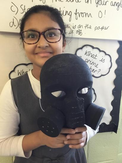 Aaliah made a replica gas mask