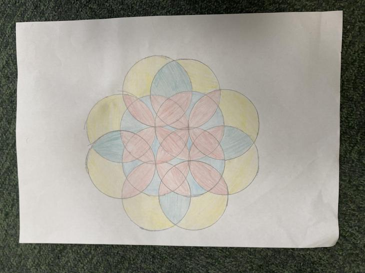 Someone practised the 7 circle pattern