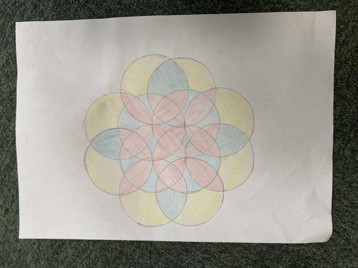 Someone practised the 7 circle pattern