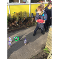 What tricky words are written on the bottles?