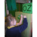 Creating a design for our Emerald City door.
