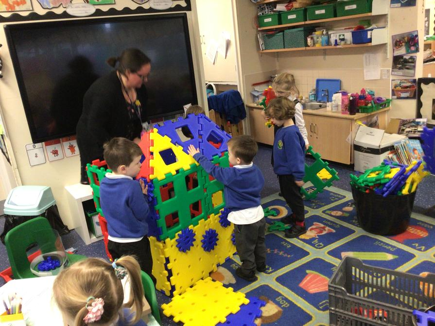 Today the children got to play with a new outside resource called Polydron.