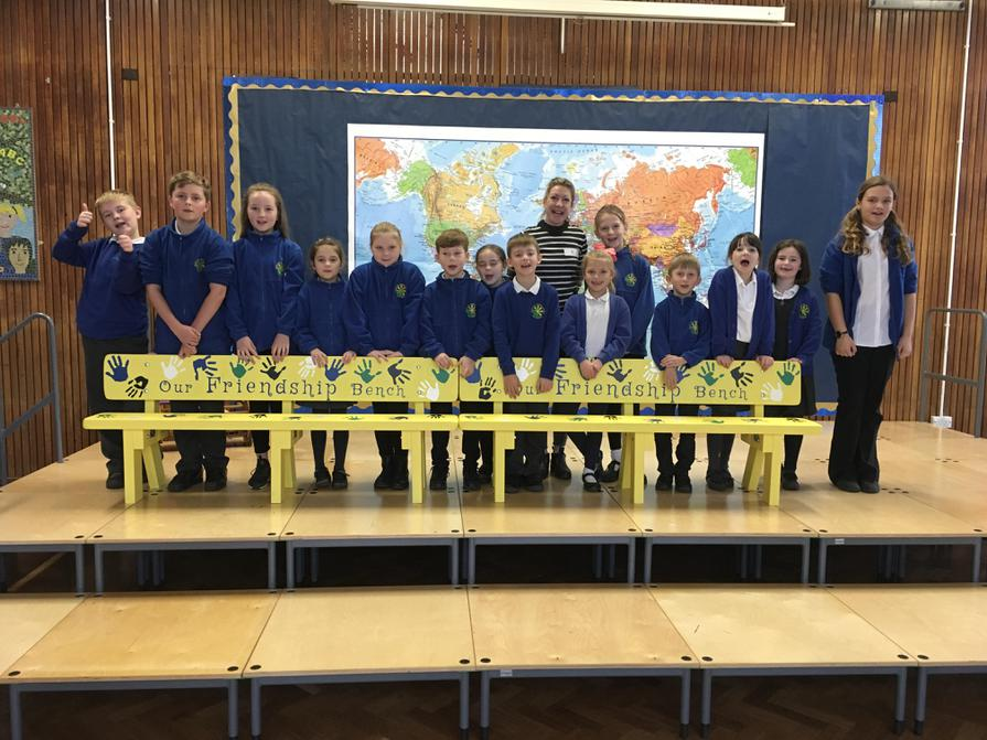 The School Council with our new friendship benches
