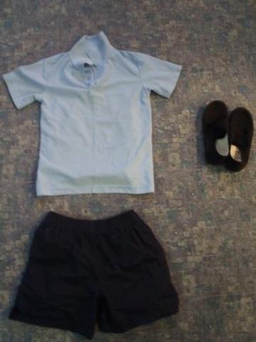 Indoor: house polo shirt, shorts, plimsolls