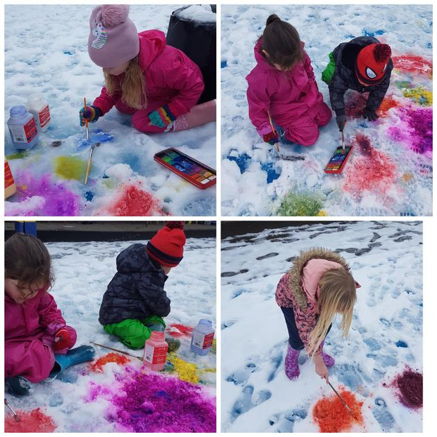 Colour mixing in the snow.