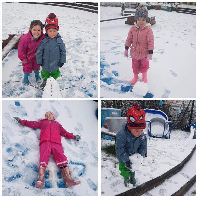 Exploring the snow.