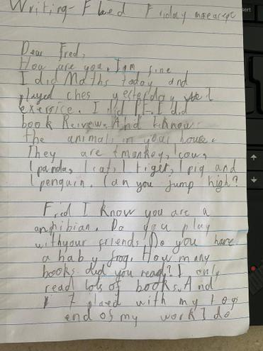 Writing-A letter to Fred by Pranav, E Kalter