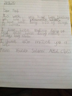 Writing-A letter to Fred by Yousra, Azul class