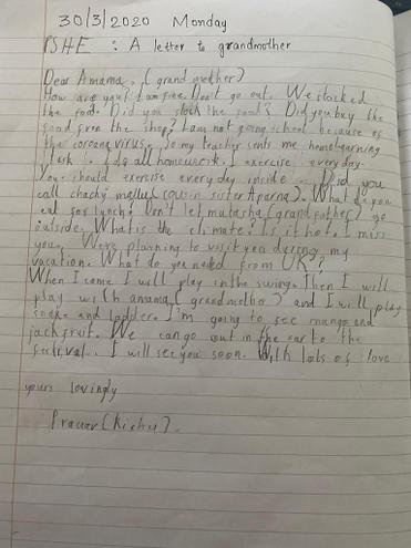Pranav, E Kalter class' letter to grandma