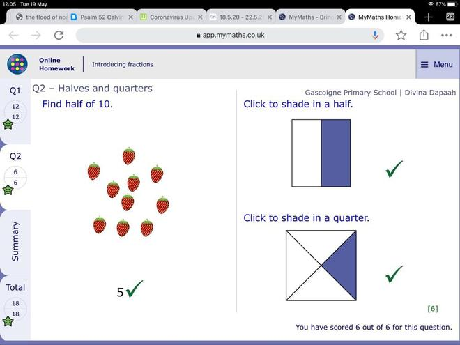 Maths- making halves and quarters by Divina, Blue