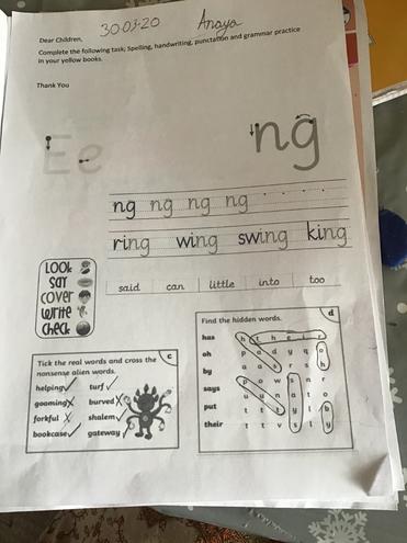 Handwriting and SPaG by Anaya, Blue class