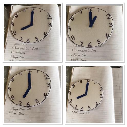 Maths-Telling o'clock time by Anaya, Blue class