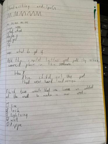 Handwriting and SPaG by Pranav, E Kalter
