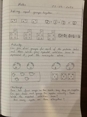 Maths-adding equal groups by Logan, Buluug