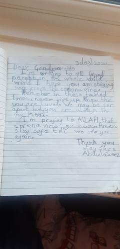 A letter to grandparents by Abdulrazeez,Azul class