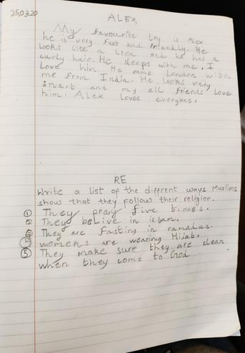 Writing and RE by Aditya, Blue class