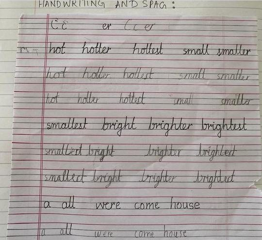 Handwriting and SPaG by Pranav, E Kalter