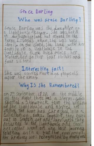Writing- Biography of Grace Darling by Fatima,Bulu