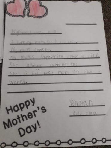 Mothers Day message by Rayan Q., Bulu class