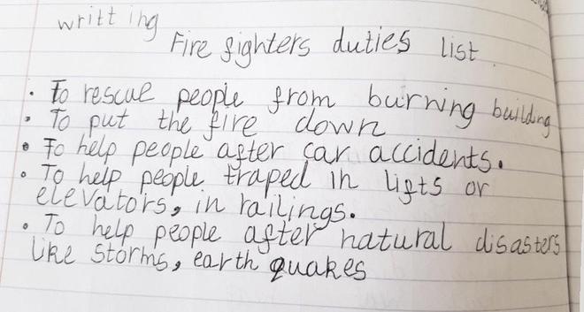 Writing- Firefighters by Larisa, Bulu