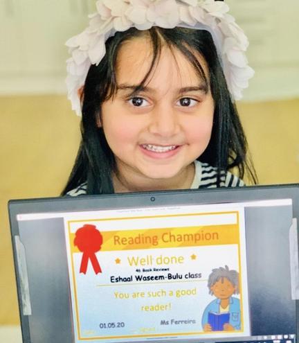1st May Reading Champion-Eshaal Waseem-Bulu