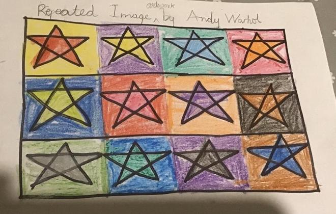 Art- Andy Warhol Repeated Images by Anaya,Blue