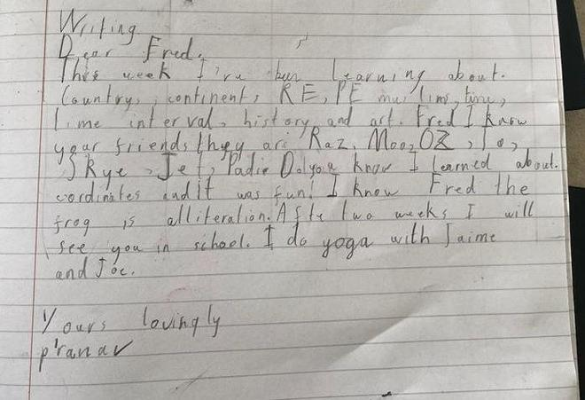 A letter to Fred by Pranav, E Kalter class