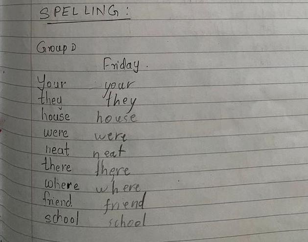 Daily spelling by Pranav EKalter class