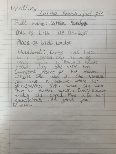 Writing-Larisa from Bulu class' autobiography