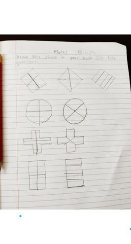 Maths- making quarters by Anaya, Blue