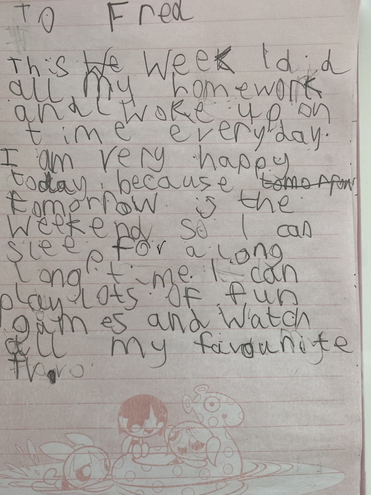 Writing-A letter to Fred by Jevon, Azul class