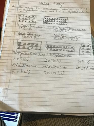 Maths-making arrays by Anaya, Blue