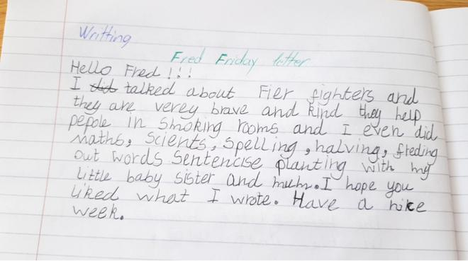 Writing- Fred Letter by Larisa, Bulu