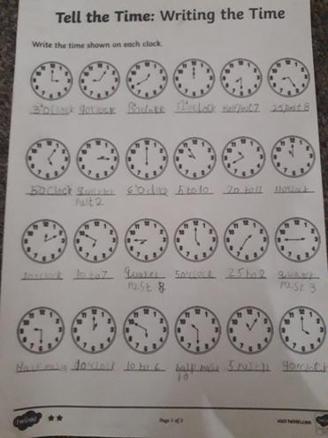 Maths-telling the time by Rayan, Bulu class