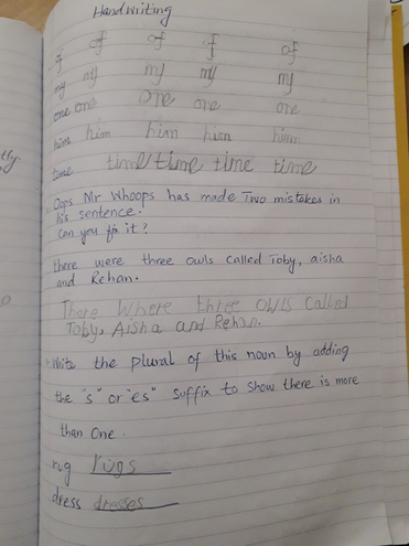 Handwriting and SPaG by Rayan, Bulu