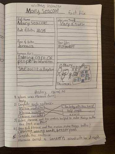 Writing- Seacole's fact file by Logan, Buluug