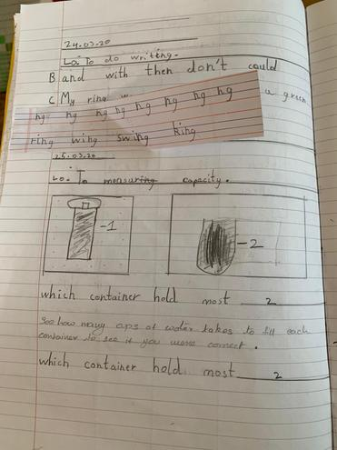 Maths and handwriting by Mukhil, Blue class