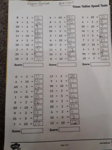 Timestable activity by Rayan, Bulu class