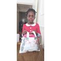 Natasha made a bag with paper